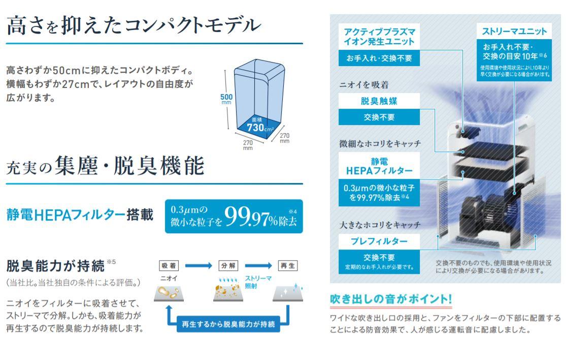 【全品!】[ACM55U-W]ダイキン コンパクトモデル ストリーマ空気清浄機 25畳 ワイヤレスリモコン付き ホワイト(同一品:MC55U-W)