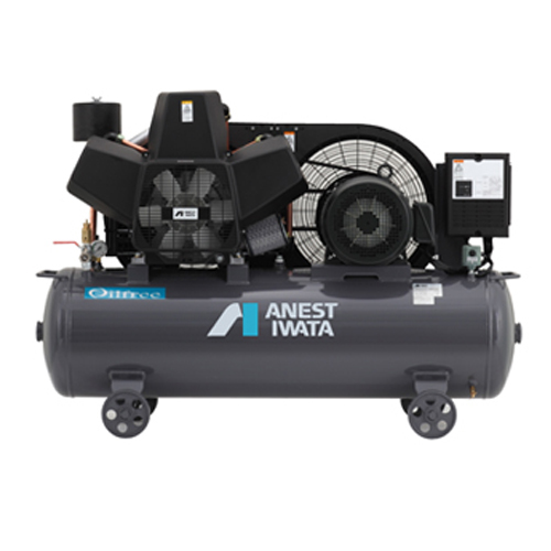 アネスト岩田 オイルフリー コンプレッサー タンクマウントTFP07BF-10-M5 (50Hz用)無給油式 圧力開閉器式 ドライヤー無し 三相200V/0.75kW