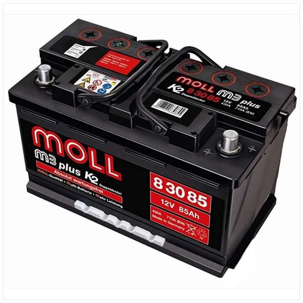 MOLL m3 plus モルバッテリー 欧州車用バッテリー ML 83085主な互換品番:58043・20-80・EXP80【廃バッテリー無料回収、北海道・東北・沖縄県以外、   ご希望の方、対応いたします】[配送区分:中型30kg]