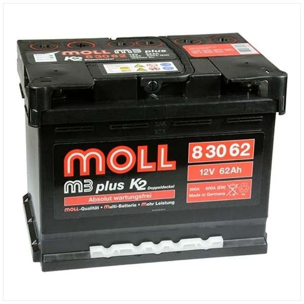 MOLL m3 plus モルバッテリー 欧州車用バッテリー ML 83062主な互換品番:56073・56020・56219【廃バッテリー無料回収、北海道・東北・沖縄県以外、   ご希望の方、対応いたします】[配送区分:中型30kg]