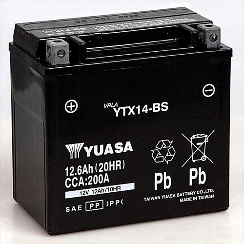 (人気激安) 台湾YUASA 台湾ユアサバイク用バッテリー 電解液注入 定番キャンバス 充電済 YTX14-BS主な互換品番:GTX14-BS DTX14-BS FTX14-BS RBTX14-N NBC14-BS