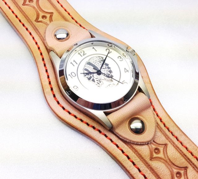 KCs バックル1ハンドスタンプ 男女兼用 ハンドスタンプ 腕時計 レザーブレス 本革 牛革  全4色【店頭受取対応商品】