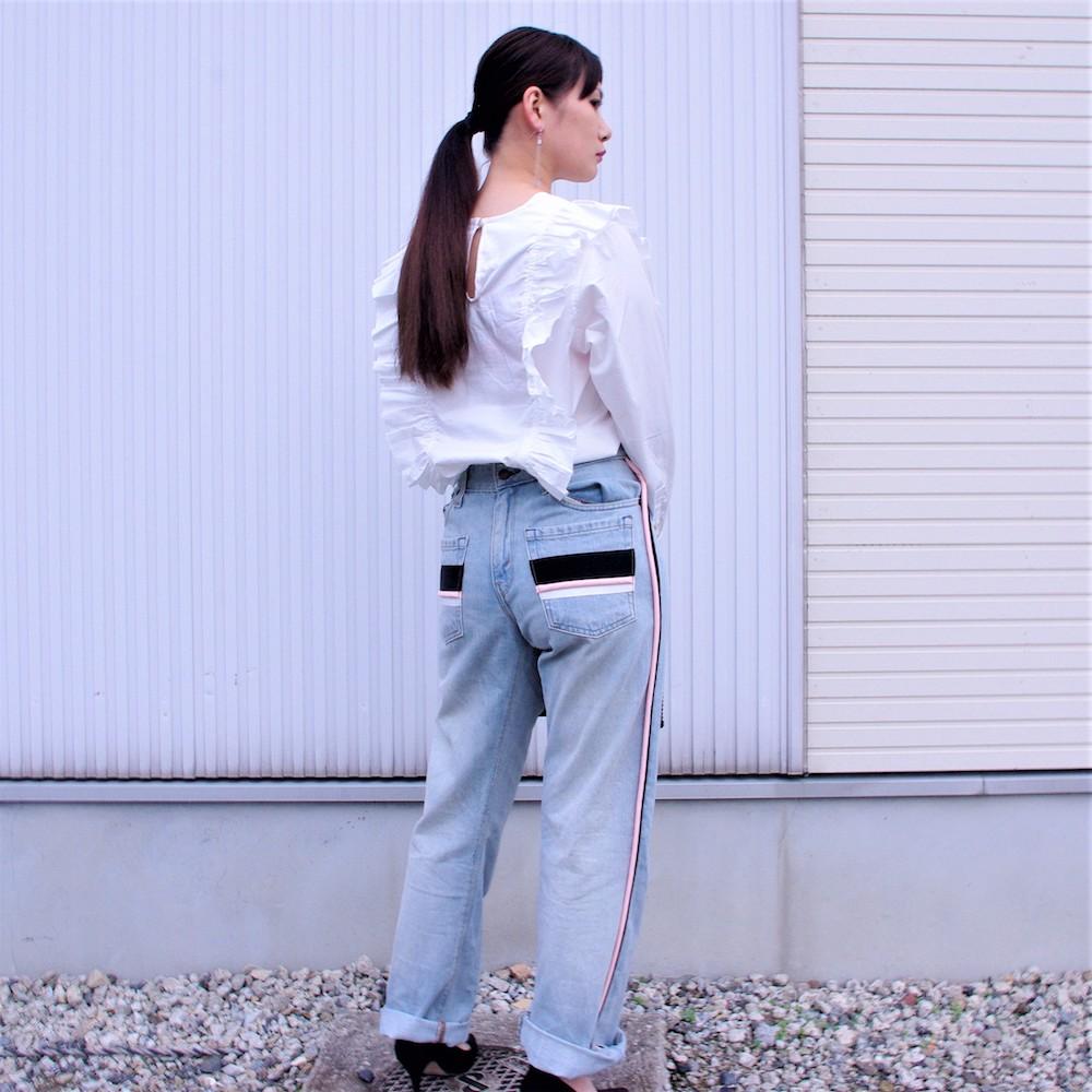 カスタムワイドデニムパンツ non-18a-8-019 blue size:f フリーサイズ 前後着用可能 ノントウキョウ リメイク ラインパンツ ジーンズ ストリートカジュアル