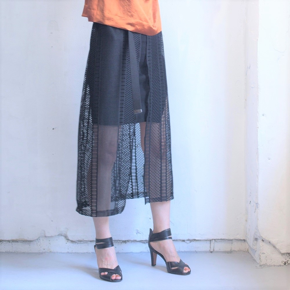 (P+)you ozeki レーススカート yo19s20 black size:F ユウオゼキ フリーサイズ 重ね着 スカート レース 大人カジュアル セール