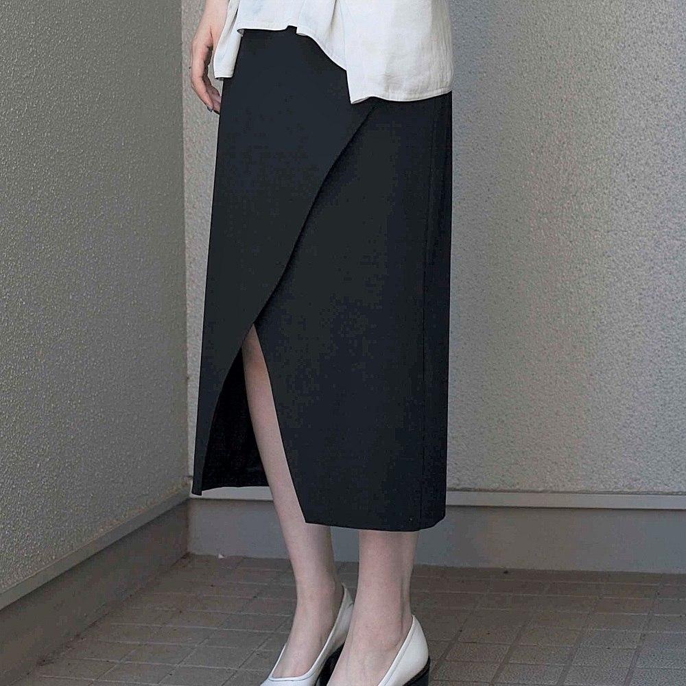 (P+)you ozeki クロスレイヤードスカート yo19s22 black size:F ユウオゼキ フリーサイズ スカート タイトスカート 大人カジュアル レディースファッション セール
