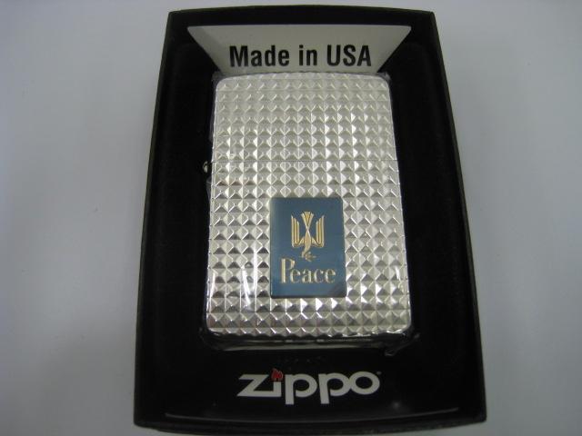 【新品】2007年 平成19年 Zippo ジッポー Peace ピース ダイヤカット アーマー オイルライター タバコ シルバー
