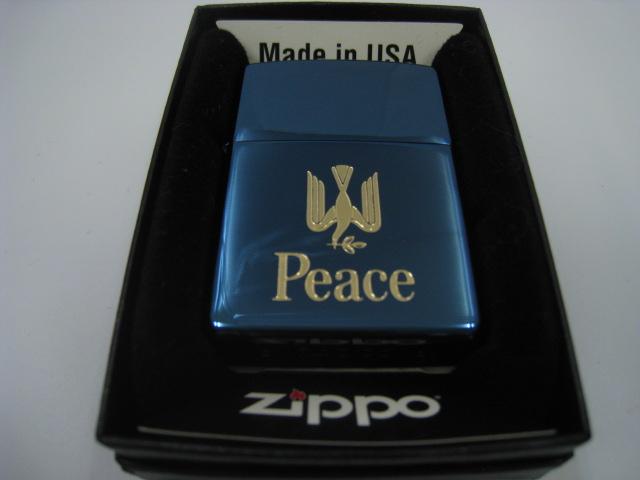【新品】2001年製 平成13年 ZIPPO ジッポー Peace ピース ブルーチタン オイルライター タバコ