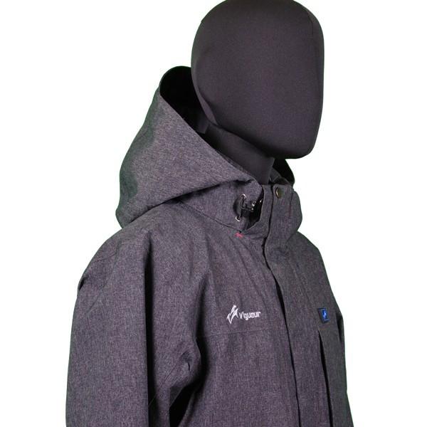 VG-2021-CHA ヒートン暖房服 ヒーター付き防水防寒フード付きレインジャケット