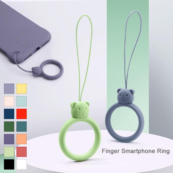 クマのスマホリング 短 ストラップ トラップホールに装着するだけ 輸入 カラフルで可愛い 柔らかいシリコン素材 指を通してスマートフォンの落下防止にピッタリ リングストラップ スマホリング くま シリコン 落下防止 携帯ストラップ いつでも送料無料 スマホケースに色合わせ ワイヤレス充電対応 フィンガーリング スマホストラップ マルチストラップ 指 全機種対応 かわいい クマ