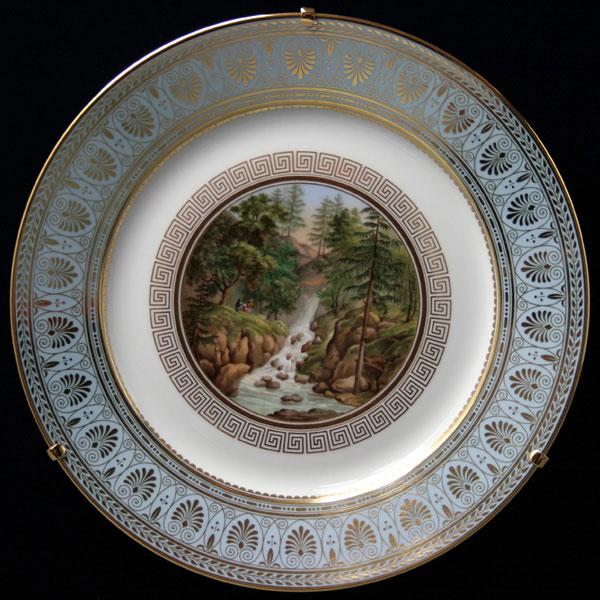 セーブル 飾り皿アルザス渓谷の滝陶磁器 フランス SEVRES