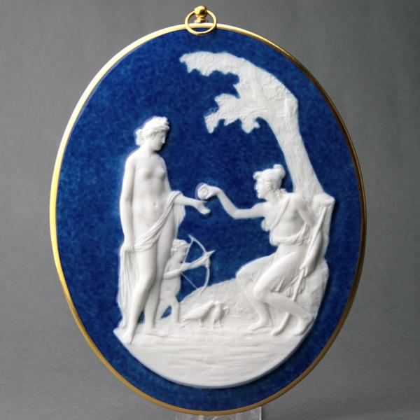 セーブルビスキュイメダイヨンパリスの審判 ブランド陶磁器壁掛 彫刻 フランス SEVRES