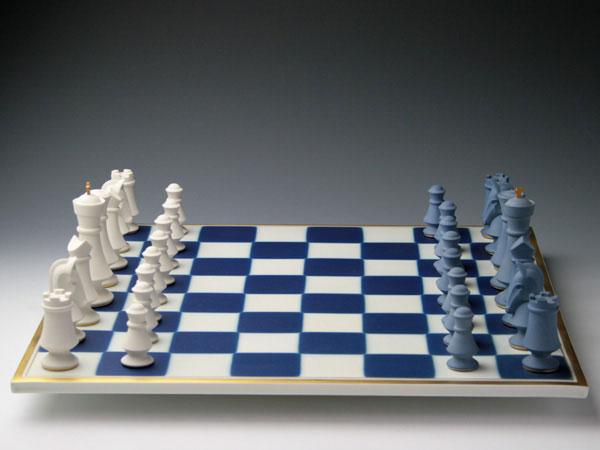 セーブル磁器人形 大きなチェス盤 飾り物フランス SEVRES