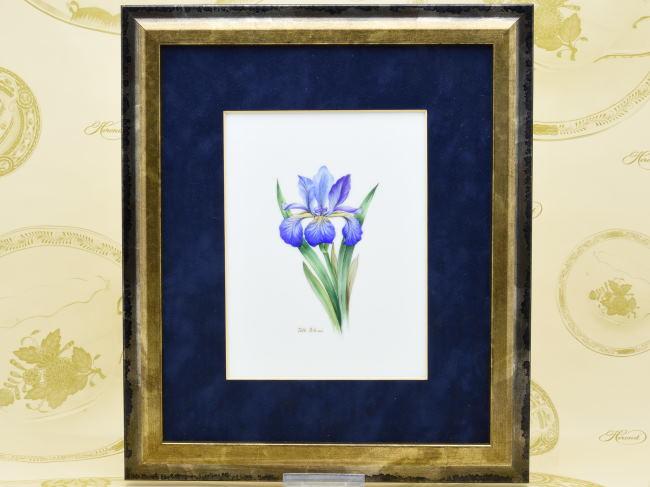 ヘレンドタイルタブロー(陶板画)(SP619-8112)花・菖蒲HEREND ハンガリー