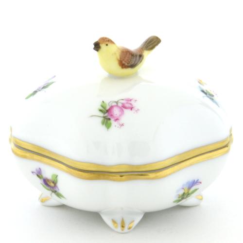 ヘレンドMF(ミルフルール・1,000の花)(06179)スクエアボックス・ボンボン入れ(小鳥飾り)小物入れオブジェ 磁器置物HEREND ハンガリー