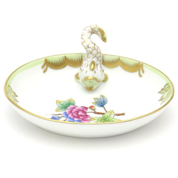 ヘレンドVBO(ヴィクトリアブーケ)(07781)楕円形ミニトレイ(ドルフィン飾り)カード立て洋食器 陶磁器HEREND ハンガリー