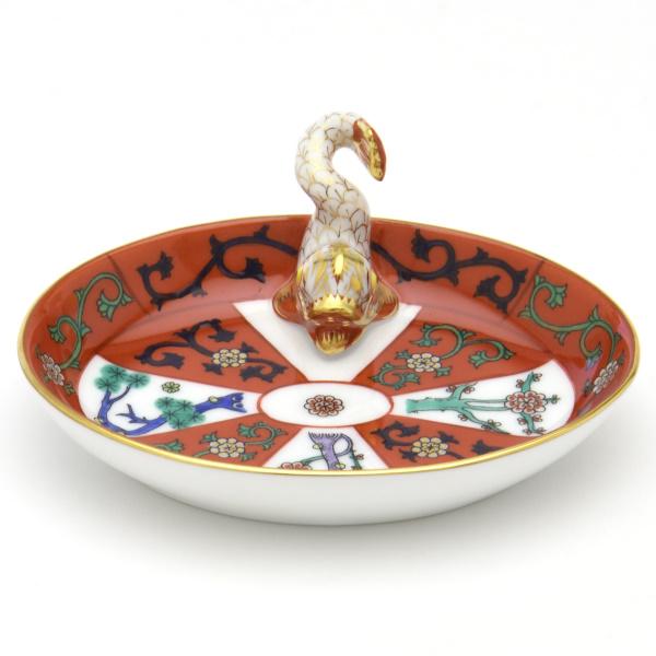 ヘレンドG(西安の赤・ゴドロー)(07781)楕円形ミニトレイ(ドルフィン飾り)カード立て洋食器 陶磁器HEREND ハンガリー