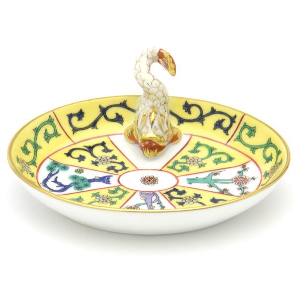お気に入り シノワズリ 買取 ヘレンドSJ 西安の黄 07781 楕円形ミニトレイ カード立て洋食器 ドルフィン飾り ハンガリー 陶磁器HEREND