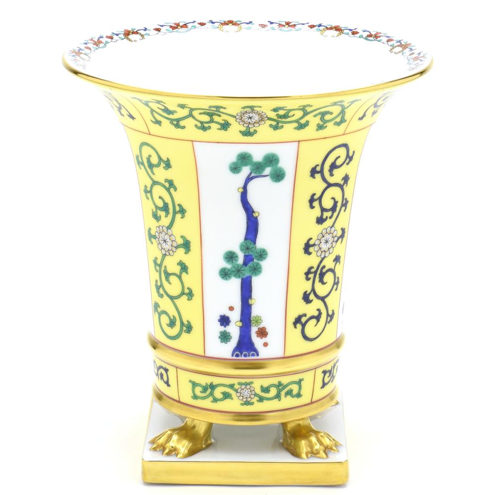 ヘレンドSJ(西安の黄)(06407)エンパヤベース(花瓶) シノワズリ 陶磁器 手描HEREND ハンガリー