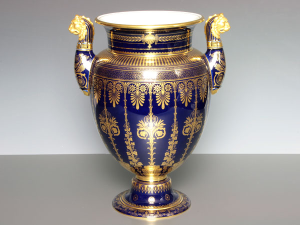 Sevres Vases And Etruscan Sable Blue Ceramics Imported