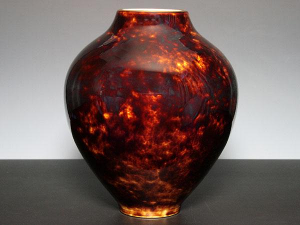 セーブル花瓶 SR22鼈甲ブラウン陶磁器直輸入販売
