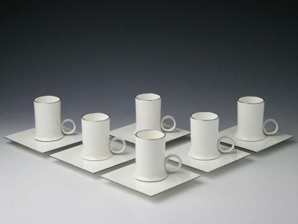 幻の陶磁器と称されるフランスの国窯セーブル(SEVRES)稀少なコーヒーカップ6客set エクラPatrice CLOUD【重要作品】白磁 洋食器直輸入販売
