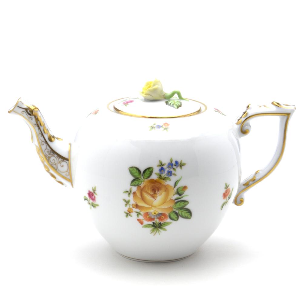 ヘレンドPBR-3(薔薇の小さな花束・イエロー)(00606)ティーポット(0.8L)薔薇摘みHEREND ハンガリーブランド陶磁器飾り物・置物