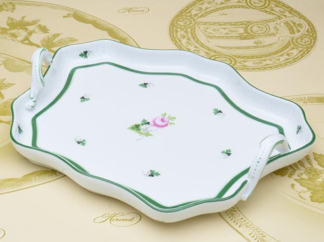 ヘレンド(00421)持ち手付き変形トレイ(盆)ヘレンドのウィーンのバラ(VRH)洋食器 陶磁器HEREND ハンガリー
