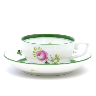 ハンドペイント 毎日続々入荷 ヘレンドVRH ヘレンドのウィーンの薔薇 00714 海外限定 ソーサー洋食器 エスプレッソコーヒーカップ ハンガリー 磁器HEREND