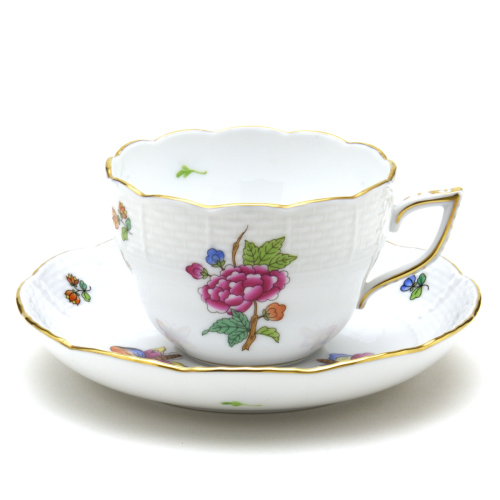 ヘレンドLVF-1(ヴィクトリア・花と蝶)(00730)ティー・コーヒー兼用カップ&ソーサーHEREND ハンガリー磁器 ブランド洋食器