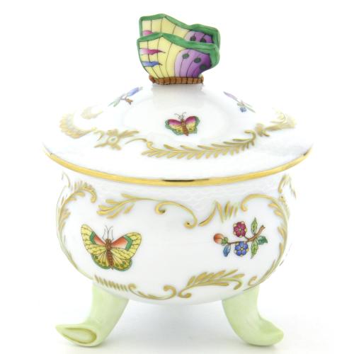 ヘレンドMF(ミルフルール・1,000の花)(06039)脚付きボンボン入(M)蝶飾り小物入れ オブジェ 磁器置物HEREND ハンガリー