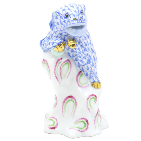 ヘレンドVHB(ビューヘレンド・ブルーの鱗模様)(05303)狛犬(金彩仕上げ)動物置物・飾り物 オーナメントHEREND ハンガリー 陶磁器