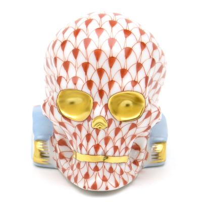 ヘレンド<BR>VH(ビューヘレンド・赤色の鱗模様)<BR>(05780)スカル・頭蓋骨(金彩仕上げ)<BR>動物置物・飾り物 オーナメント<BR>