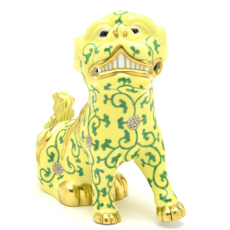 ヘレンド シノワズリ狛犬(S・左足上げ)動物置物西安の黄(SJV)HEREND 磁器