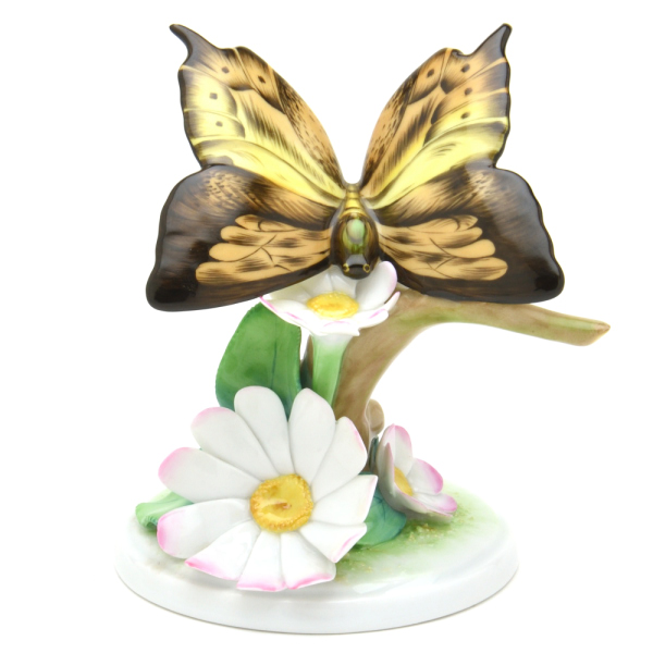 ヘレンドC(ファンシー) (09306)フラワー&バタフライオーナメント 置物・飾り物 花と蝶Hブランド陶磁器HEREND ハンガリー