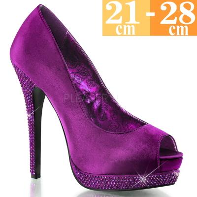 【お取り寄せ品】厚底 ハイヒールパンプス 紫【パープル サテン ピンヒール レディース 靴 女装 男の娘 大きいサイズ C-GEM】BELLA12R-PPSA (type)