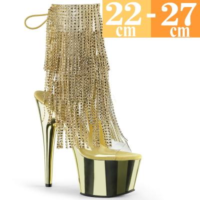 【お取り寄せ品】フリンジブーツ ゴールド ヒール高18cm【イベント 舞台 コスプレ 衣装 大きいサイズ 靴 C-GEM】ADORE-1017RSF (type)