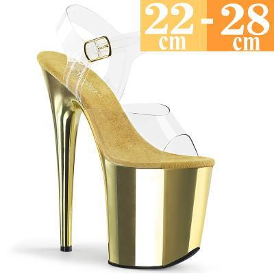【サイズ交換ok】Pleaser/プリーザー 取寄せ 厚底 サンダル クリアー/ゴールド メタリック 透明 ポールダンス 超厚底 キラキラ ステージ イベント パーティー ストラップ 付き ピンヒール レディース 靴 pole-D h-ta FLAM808/C/GCH