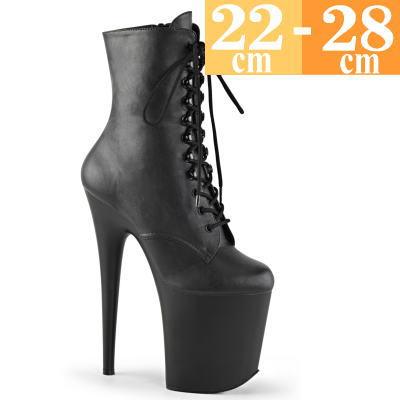 【サイズ交換ok】Pleaser/プリーザー 取寄せ ミドルブーツ ブラック 黒 つや消し 合皮 ハイヒール 超厚底 ポールダンス シューズ 編み上げ ショートブーツ レースアップ ピンヒール 大きいサイズ レディース 靴 男 女装 pole-D h-ta FLAM1020/BPU/M