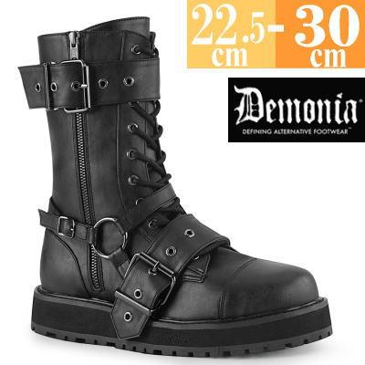 【サイズ交換ok】Demonia/デモニア 取寄せ ショートブーツ ブラック 黒 厚底 靴 パンク ゴシック 原宿系 コーデ ファッション レディース シューズ ユニセックス メンズ 大きい サイズ コスプレ VAL220/BVL