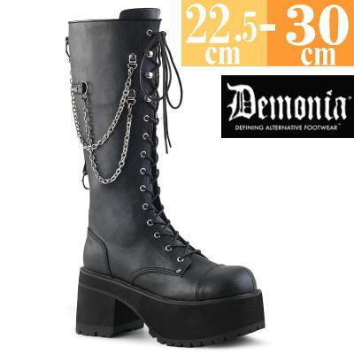 【サイズ交換ok】Demonia/デモニア 取寄せ 厚底 ロング ブーツ ブラック 黒 靴 パンク ゴシック 原宿系 コーデ ファッション シューズ レディース ユニセックス メンズ 大きい サイズ コスプレ RAN303/BVL