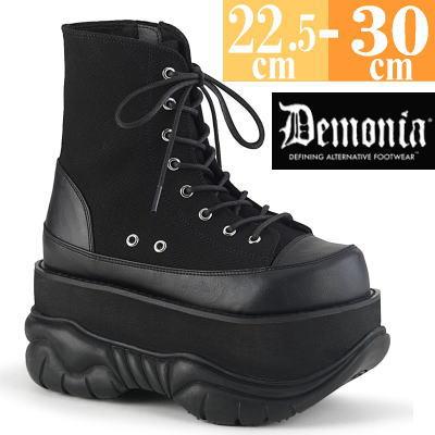 【サイズ交換ok】Demonia/デモニア 取寄せ 厚底 ショートブーツ ブラック 黒 つや消し 合皮 超厚底 靴 パンク ゴシック 原宿系 コーデ ファッション シューズ レディース ユニセックス メンズ 大きい サイズ アンクル丈 コスプレ NEP115/BCA-VL