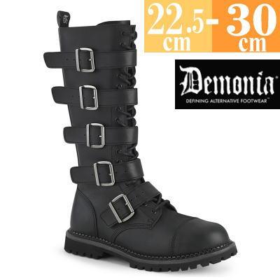 【サイズ交換ok】Demonia/デモニア 取寄せ ロング ブーツ ブラック 黒 つや消し 合皮 靴 コンバットブーツ パンク ゴシック 原宿系 コーデ ファッション シューズ レディース ユニセックス メンズ 大きい サイズ コスプレ RIOT18BK/BVL
