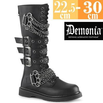 【サイズ交換ok】Demonia/デモニア 取寄せ ロング ブーツ ブラック 黒 つや消し 合皮 靴 ミドル丈 コンバットブーツ パンク ゴシック 原宿系 コーデ ファッション シューズ レディース ユニセックス メンズ 大きい サイズ コスプレ BOLT450/BVL