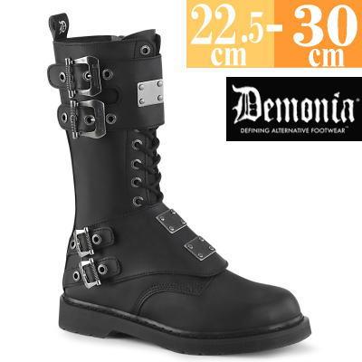 【サイズ交換ok】Demonia/デモニア 取寄せ ロング ブーツ ブラック 黒 つや消し 合皮 靴 ミドル丈 コンバットブーツ パンク ゴシック 原宿系 コーデ ファッション シューズ レディース ユニセックス メンズ 大きい サイズ コスプレ BOLT345/BVL