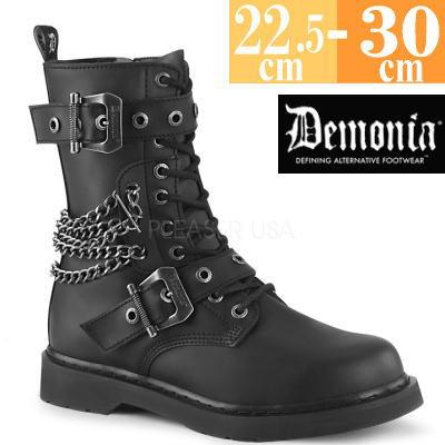 【サイズ交換ok】Demonia/デモニア 取寄せ ロング ブーツ ブラック 黒 つや消し 合皮 靴 ミドル丈 コンバットブーツ パンク ゴシック 原宿系 コーデ ファッション シューズ レディース ユニセックス メンズ 大きい サイズ コスプレ BOLT250/BVL