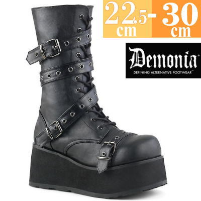 【サイズ交換ok】Demonia/デモニア 取寄せ ロング ブーツ ブラック 黒 つや消し 合皮 靴 ミドル丈 コンバットブーツ パンク ゴシック 原宿系 コーデ ファッション シューズ レディース ユニセックス メンズ 大きい サイズ コスプレ