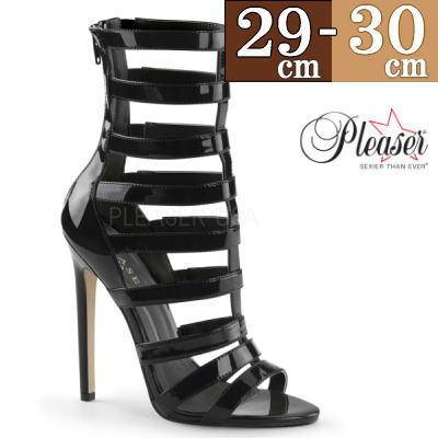 【サイズ交換ok】Pleaser/プリーザー ハイヒール ロング ブーツ 黒 エナメル ブーツ 大きい サイズ 30cm ピンヒール 靴 ボンテージ 女王様 コスプレ ヒール butu2 h-hi c-bk SEXY52B