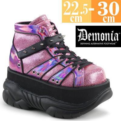 【サイズ交換ok】Demonia/デモニア 取寄せ 厚底スニーカー ハイカット ピンク 厚底 靴 パンク ゴシック コーデ ファッション レディース ユニセックス 大きい サイズ 女装 男 コスプレ NEP100