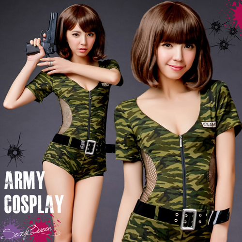 Puffy nipples straining police army costume Camo pattern police costume all-in-one jumpsuit Khaki Black police uniform costume provisional instrumentation ...  sc 1 st  Rakuten & SEXYQUEEN | Rakuten Global Market: Puffy nipples straining police ...