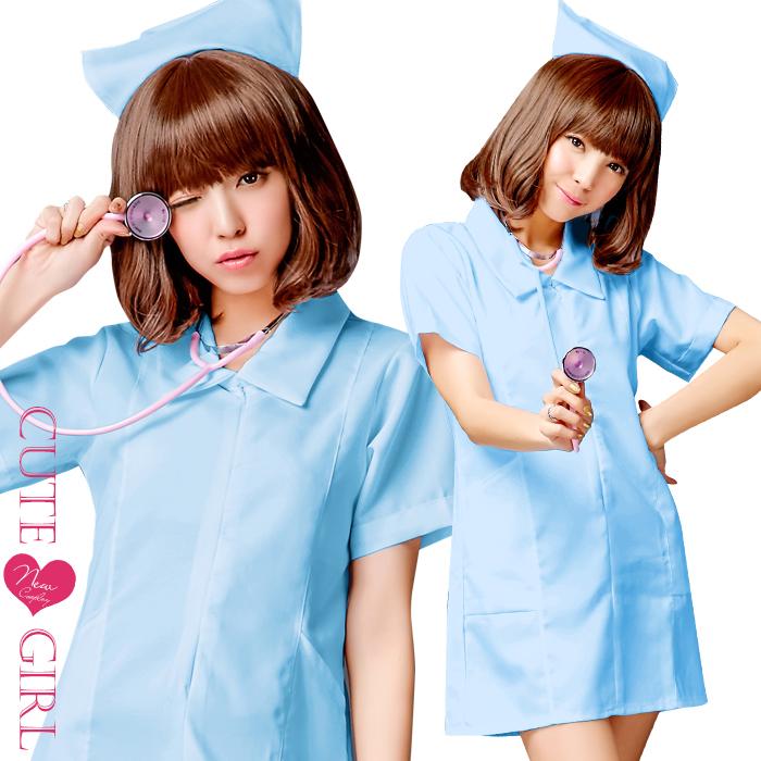 Cosplay 护士大尺码服饰蓝色蓝色 cosplay 服装护士衣服性感服装万圣节护士制服短袖医生白成人 nascospre 化装服装服饰